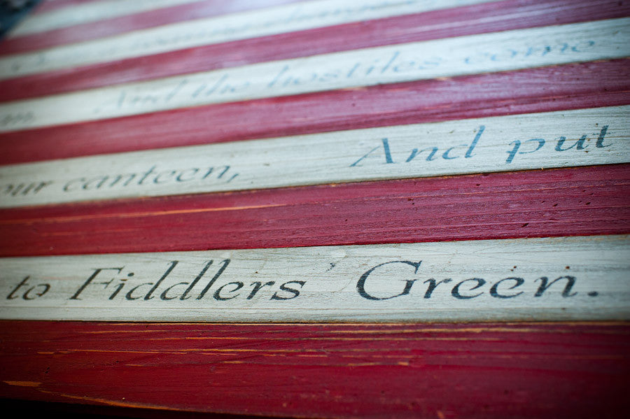 Fiddler's Green Poem on USA wood flag