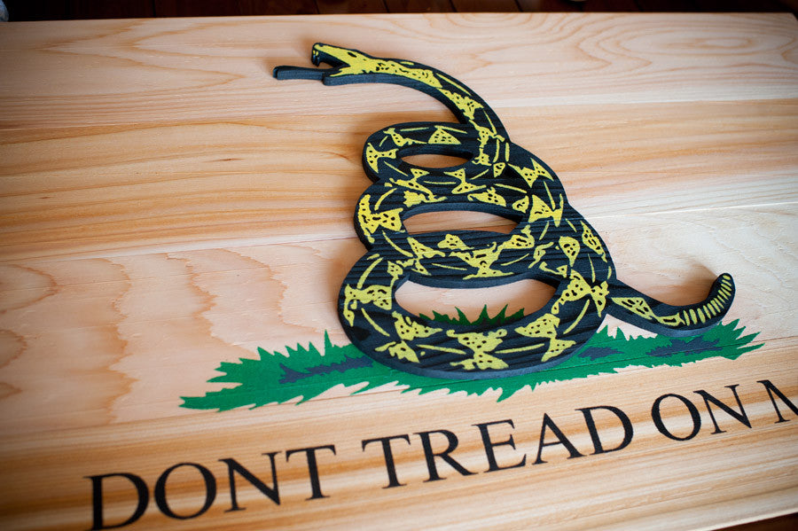 Gadsden Natural Wood Flag by Patriot Wood