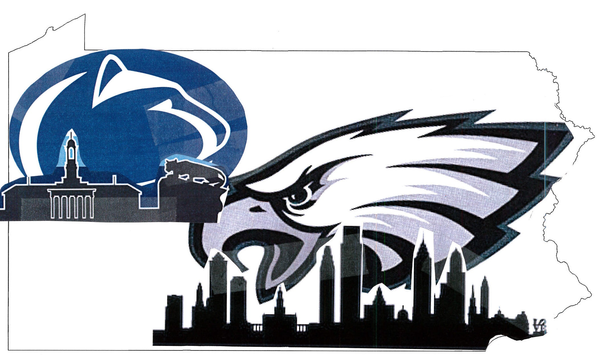 Penn State Philadelphia Eagles Wood State Cutout