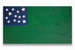 Green Mountain Boys Wood Flag, wooden flag wall art by Patriot Wood