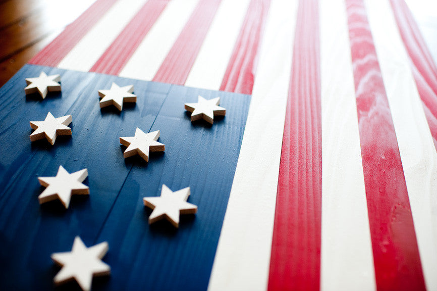 Hopkinson Wood Flag, US wooden flag, wall art by Patriot Wood