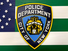 New York City Police Department w/NYPD Shield Wooden Flag