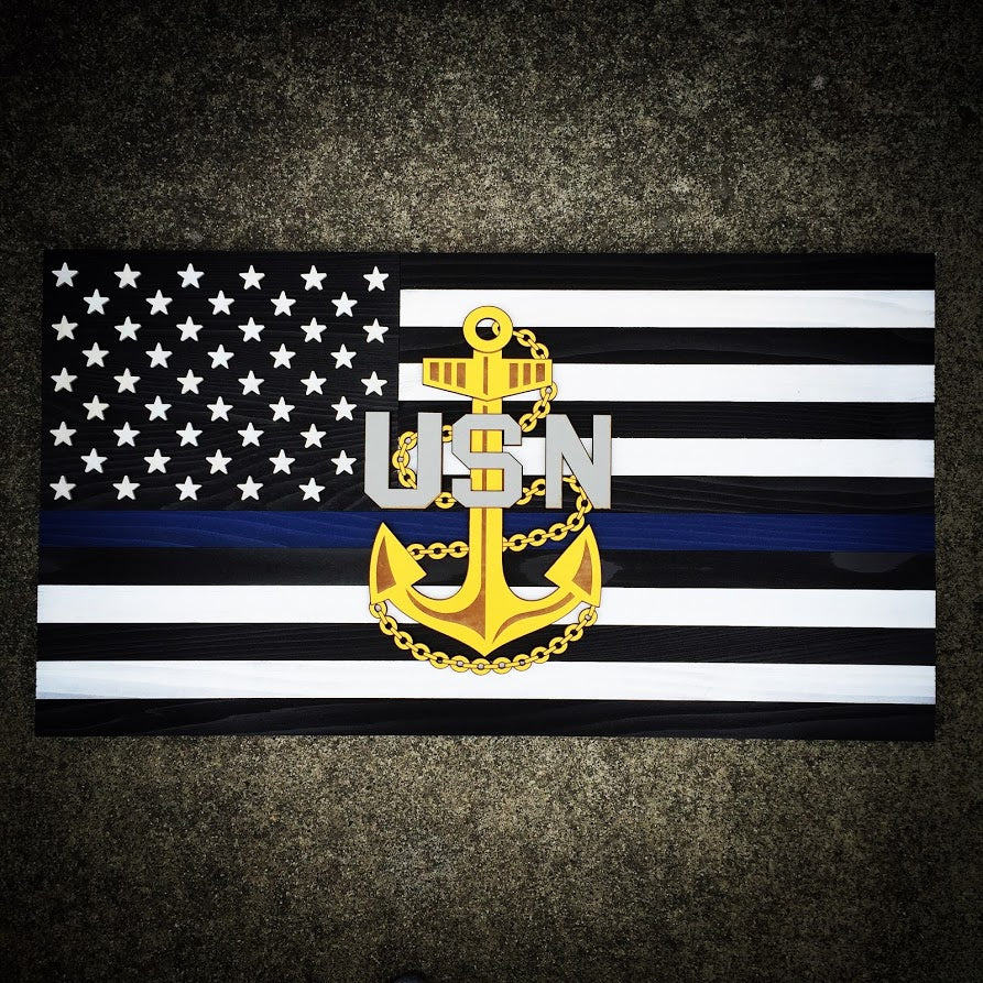 Thin Blue Line Navy Chief Wood Flag