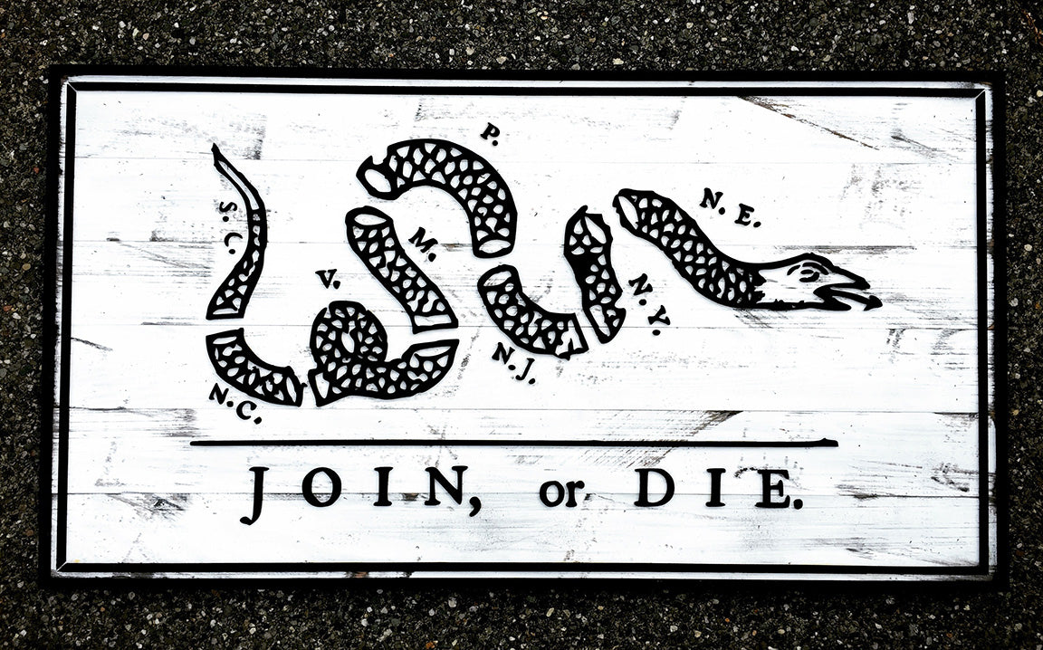 Join Or Die Vintage Wood Flag