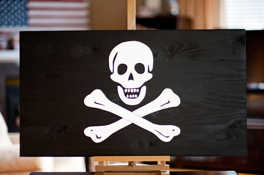 Wooden Jolly Roger flag from Patriot Wood