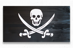 Calico Jack Jolly Roger Wood Flag