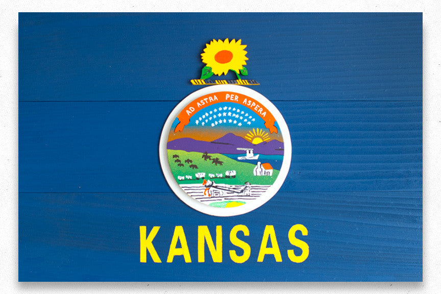 Kansas Wooden Flag by Patriot Wood