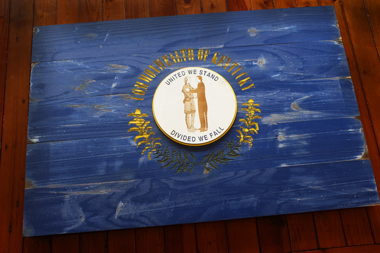 Kentucky Wood Flag in Vintage finish handmade by Patriot Wood