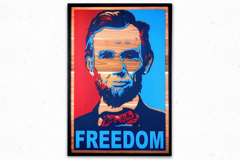 Abraham Lincoln FREEDOM Wood Wall Art