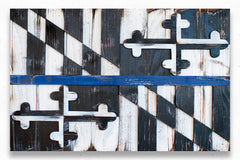 Maryland Thin Blue Line Wooden Flag by Patriot Wood