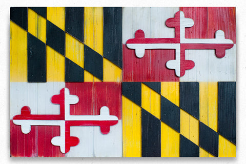 Maryland Vintage Wood Flag by Patriot Wood