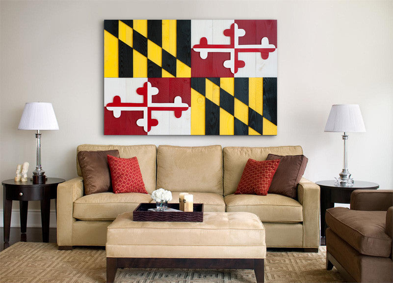 Maryland Wood Flag, wooden wall art by Patriot Wood