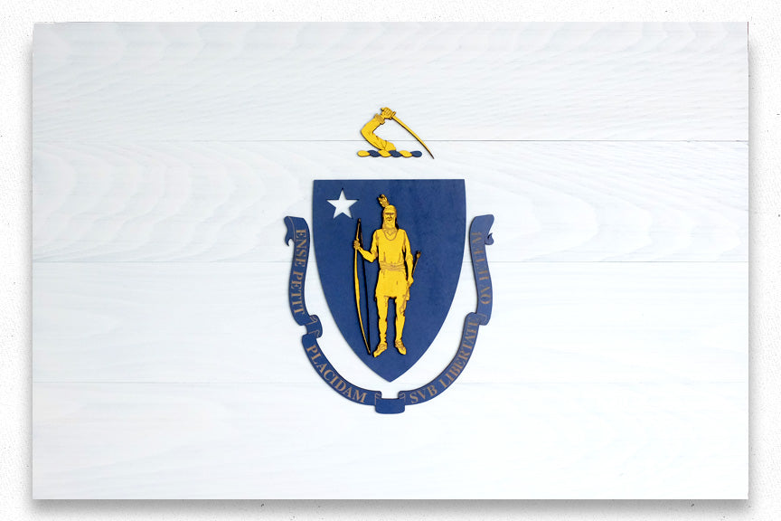 Massachusetts Wood Flag
