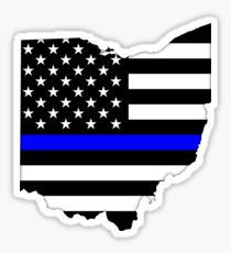 Thin Blue Line Ohio Wood Flag