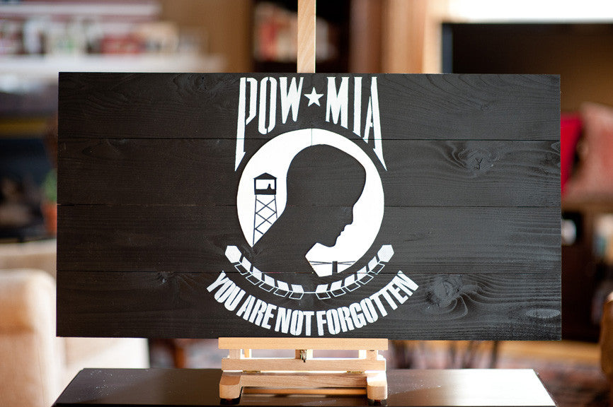 POW/MIA wood flag from Patriot Wood