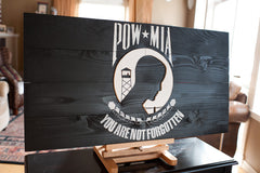 POW Wood Flag, POW wooden flag, wall art by Patriot Wood
