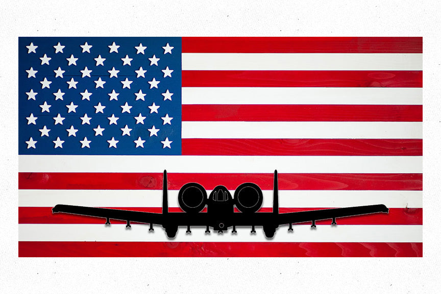 USA w/ A-10 Custom Wood Flag
