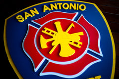 San Antonio Fire Dept Wooden Flag by Patriot Wood