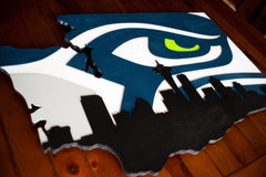 Washington State wooden cutout with Seahawk and Seattle Skyline by Patriot Wood