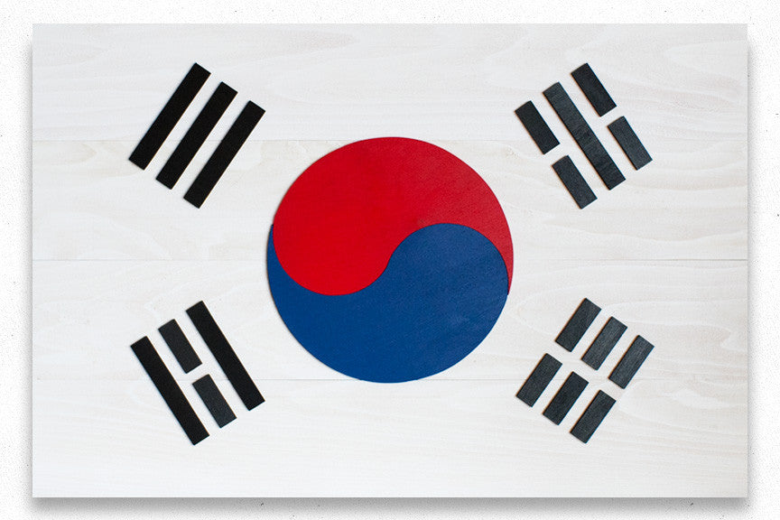 South Korea Wood Flag
