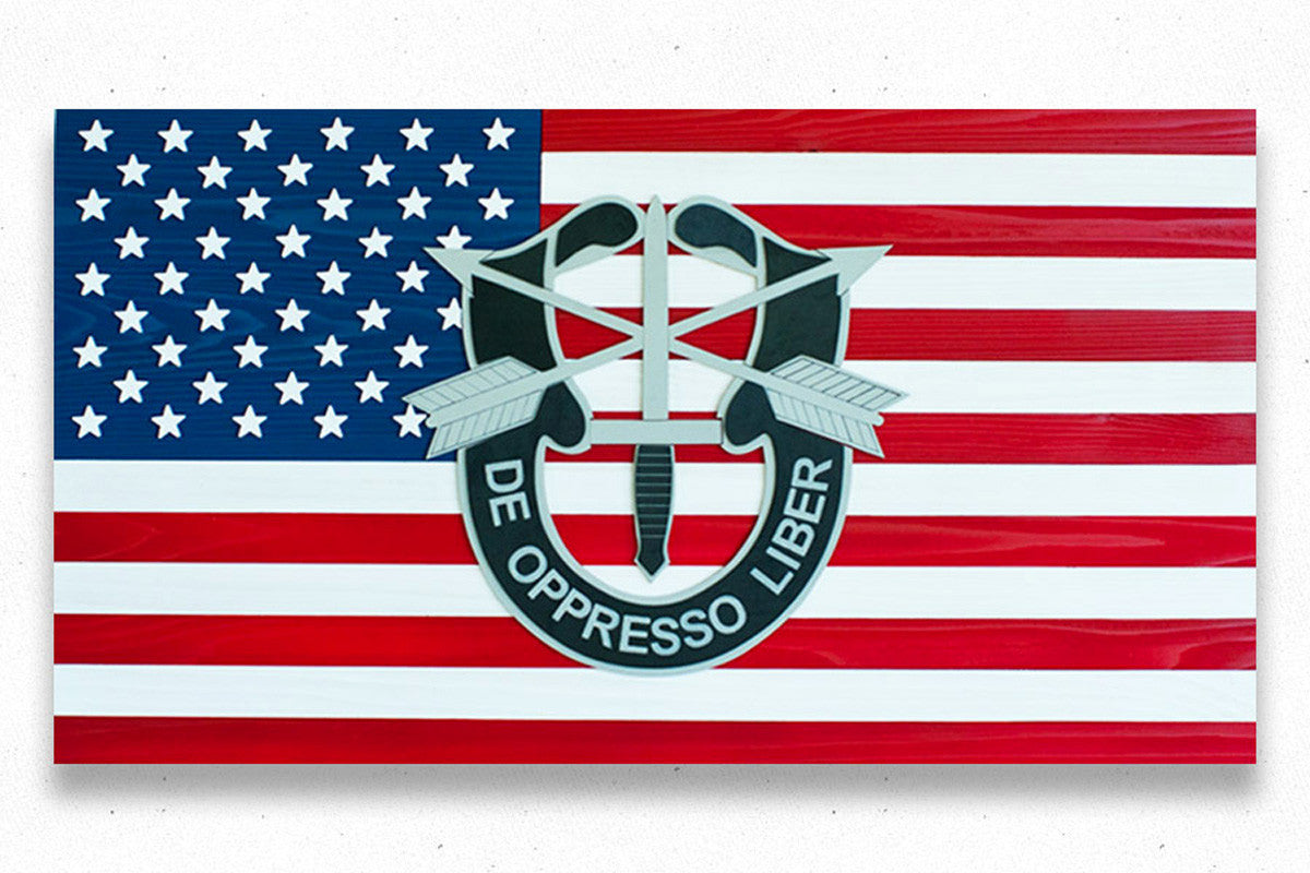 Special Forces USA wooden flag by Patriot Wood