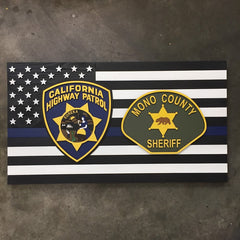 Thin Blue Line w/Two Custom Badges Wood Flag