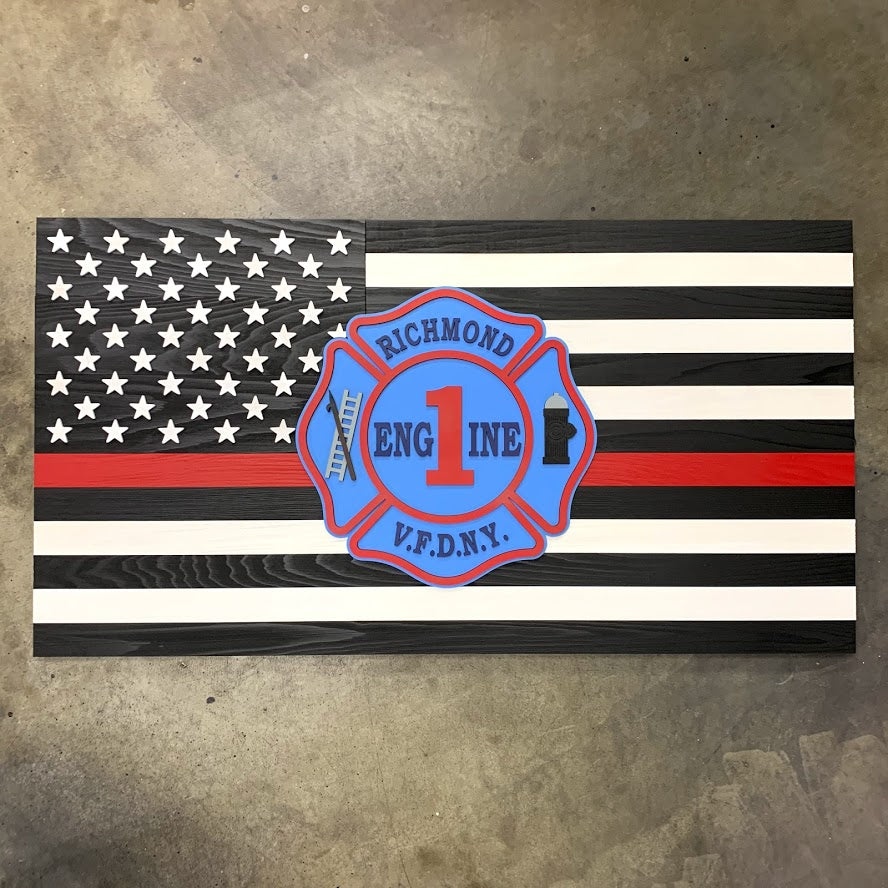 Thin Red Line Wood Flag w/Custom Wooden Badge by Patriot Wood