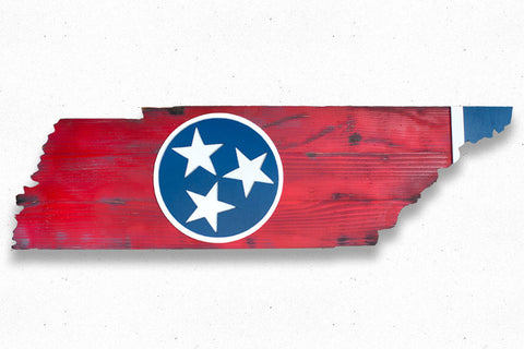 Tennessee State Shaped Wood Flag
