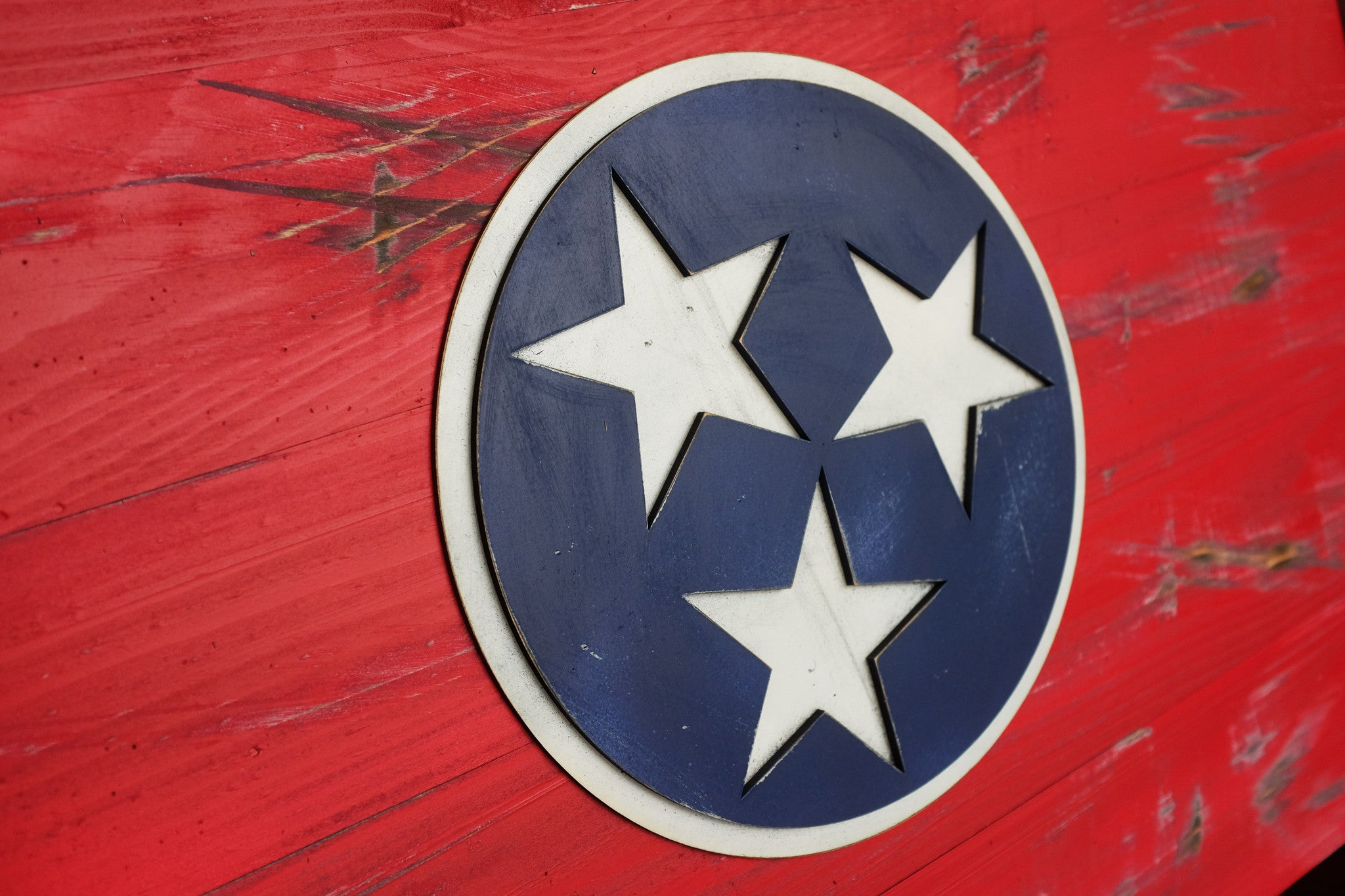 Tennessee Wood Flag in vintage finish handmade by Patriot Wood