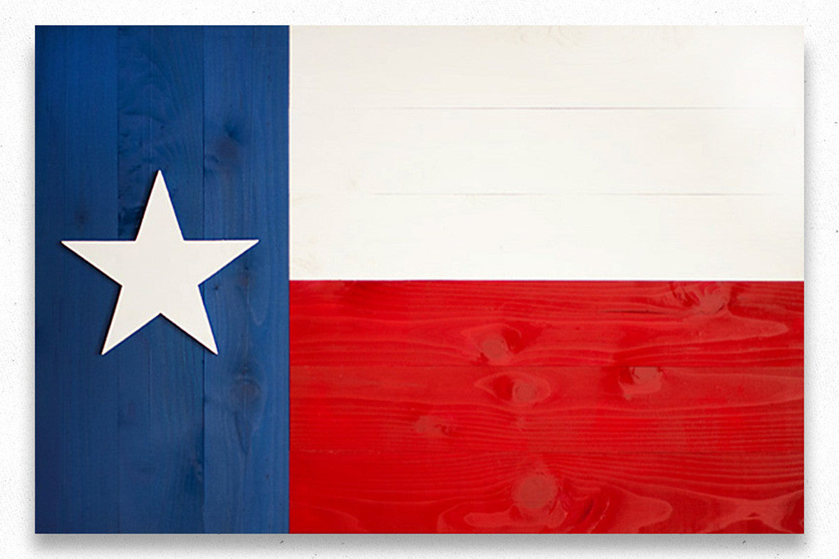 Texas Vintage Wood Flag