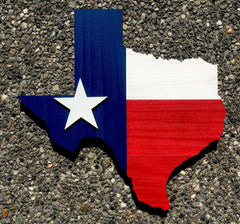 Texas Shape Wood Flag