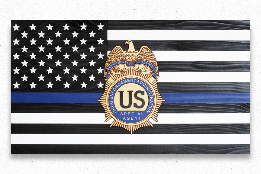 Thin Blue Line w/Custom Badge Wood Flag