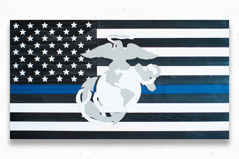 Thin Blue Line Marines Wooden Flag by Patriot Wood