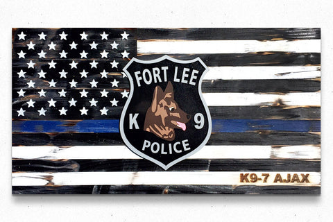 Thin Blue Line w/Badge Wood Flag