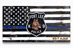 Thin Blue Line w/Badge Vintage Wood Flag