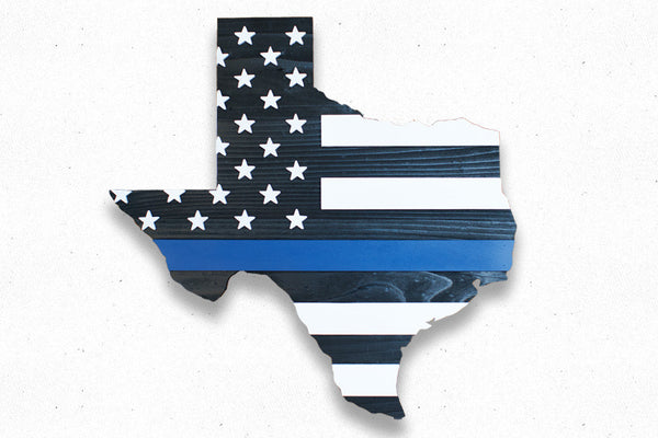 Thin Blue Line Texas Wood Flag Patriot Wood