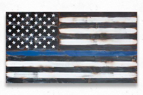 Thin Blue Line Vintage Wood Flag
