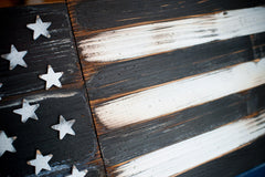 Thin Blue Line Vintage Wooden Flag by Patriot Wood