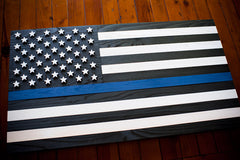 Thin Blue Line Wooden Flag by Patriot Wood