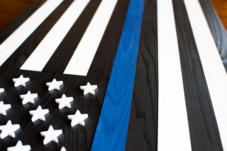 Thin Blue Line Wood Flag Patriot Wood
