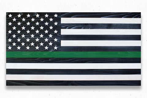 Thin Green Line Wood Flag