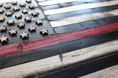 Thin Red Line Vintage Wood Flag