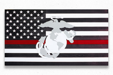 Thin Red Line Marines Wood Flag