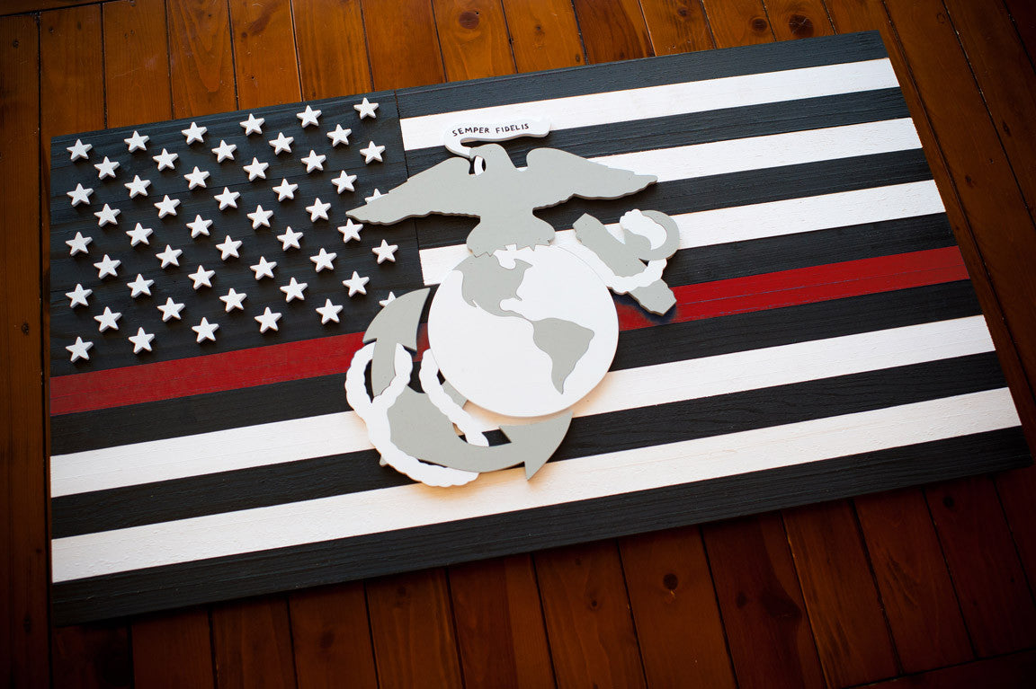 Thin Red Line Marines Wooden Flag by Patriot Wood