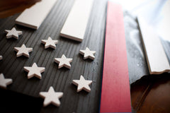 Thin Red Line Texas Wooden Flag by Patriot Wood