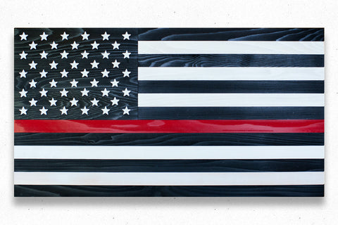 Thin Red Line Wood Flag