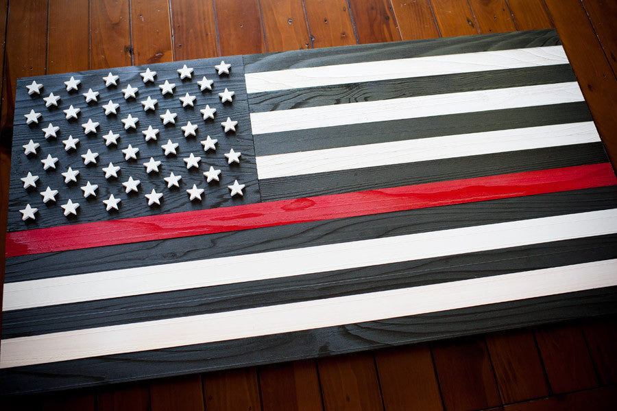 Thin Red Line Wood Flag Patriot Wood