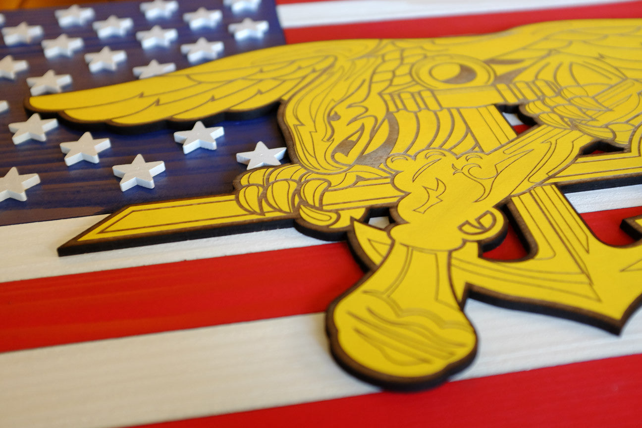 Navy Seals USA Wood Flag