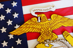 US Marine Corps on USA Wood Flag