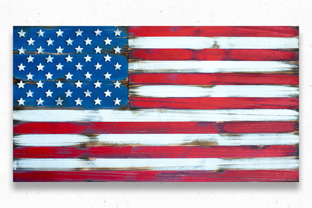Pledge of Allegiance on USA Wood Flag